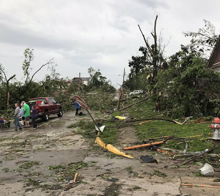A handout photo made available by the Missouri State Emergency Management Agency shows damage after large storms with tornados moved across the state overnight, in Jefferson City, Mo., May 23, 2019. (Photo: Missouri State Emergency Management Agency/Handout/EPA-EFE/REX/Shutterstock)