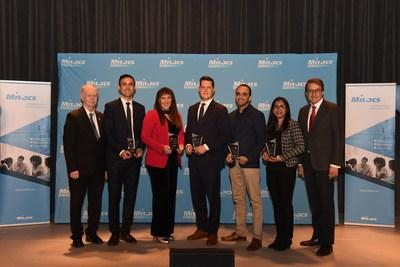Honourable Keith Colwell, Minister of Agriculture, and Minister of Fisheries and Aquaculture, Government of Nova Scotia; Hamed Hanafi, NovaResp Technologies; Beatriz Moreno Sanchez, SeeO2 Energy; Marc-Étienne Ouimette, Element AI; Hachem Agili, Geosapiens; Tanzina Huq, Chinova Bioworks; Alejandro Adem, Mitacs. (CNW Group/Mitacs Inc.)