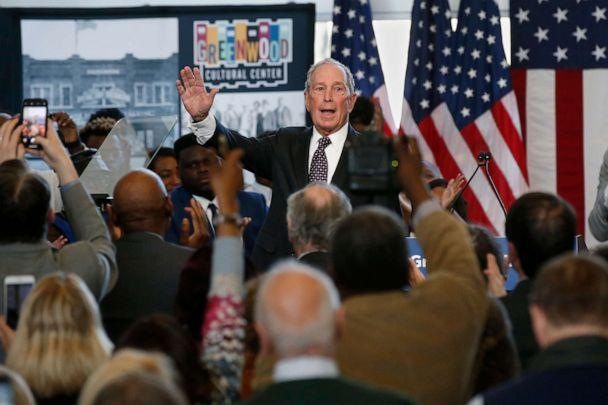 PHOTO: Democratic presidential candidate Michael Bloomberg waves to the crowd at the conclusion of his speech at the Greenwood Cultural Center in Tulsa, Okla., Sunday, Jan. 19, 2020. (Sue Ogrocki/AP)