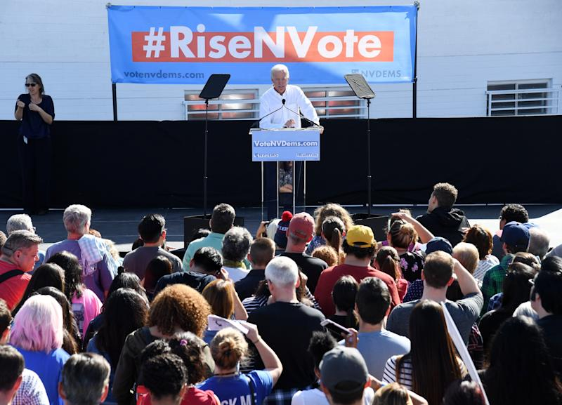 Former Vice President Joe Biden rallies Democrats at an early vote rally in Las Vegas. (Ethan Miller via Getty Images)