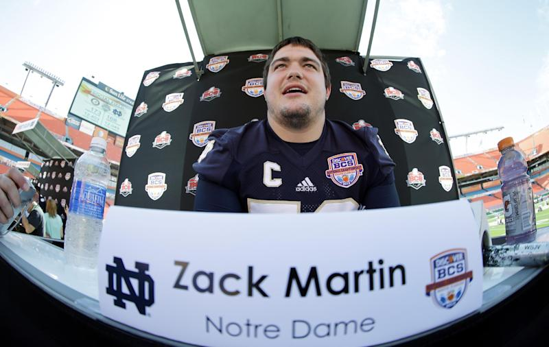 In this photo taken with a fisheye lens, Notre Dame offensive tackle Zack Martin answers a question during Media Day for the BCS National Championship college football game Saturday, Jan. 5, 2013, in Miami. Notre Dame faces Alabama in Monday's championship game.(AP Photo/David J. Phillip)