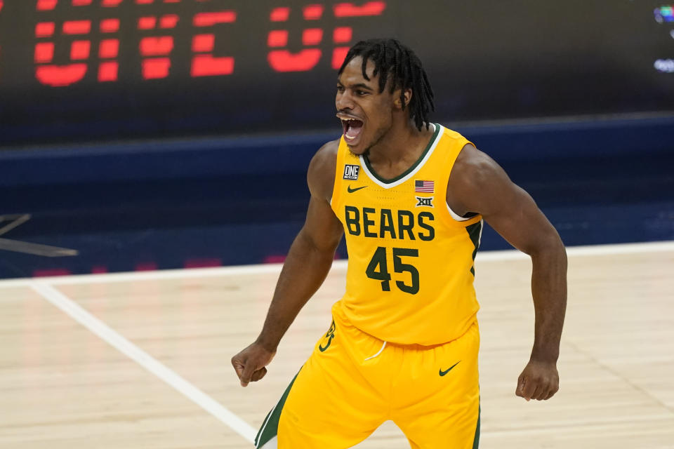 Baylor's Davion Mitchell reacts during the second half of an NCAA college basketball game against Illinois, early Thursday, Dec. 3, 2020, in Indianapolis. Baylor won 82-69. (AP Photo/Darron Cummings)