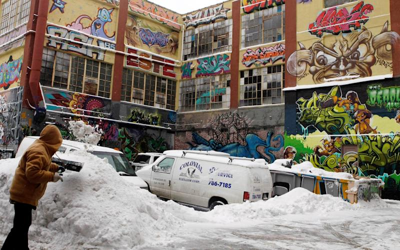 5Pointz, pictured during a snowy winter in 2011, drew thousands of tourists - Frank Franklin II/AP