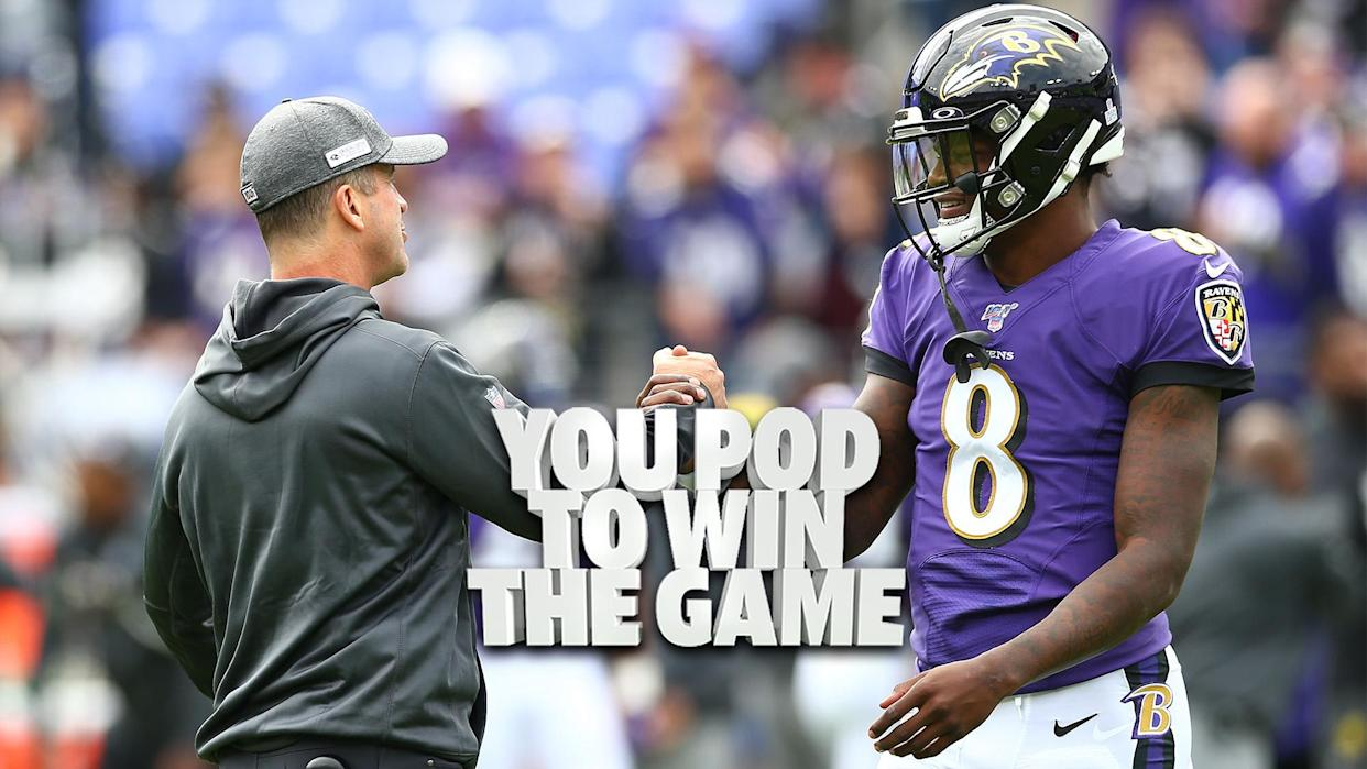 Baltimore Ravens head coach John Harbaugh shakes hands with QB Lamar Jackson. The pair have endured a difficult summer leading up to the 2021 regular season. (Photo by Dan Kubus/Getty Images)