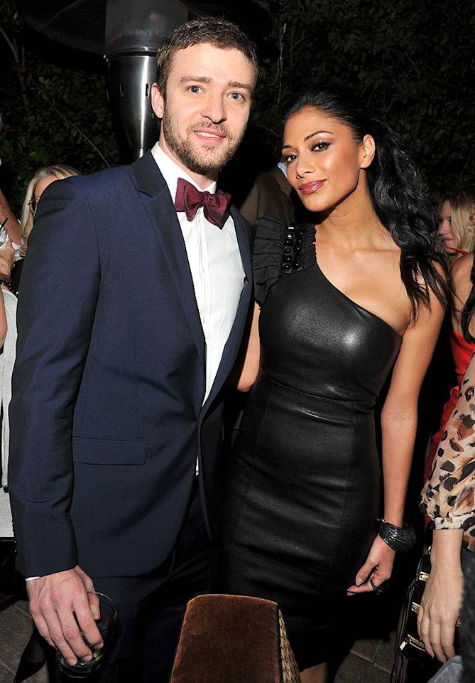 """JT was clearly making the rounds at the shindig! The singer was spotted catching up with """"X-Factor"""" judge Nicole Scherzinger. (11/17/2011)"""