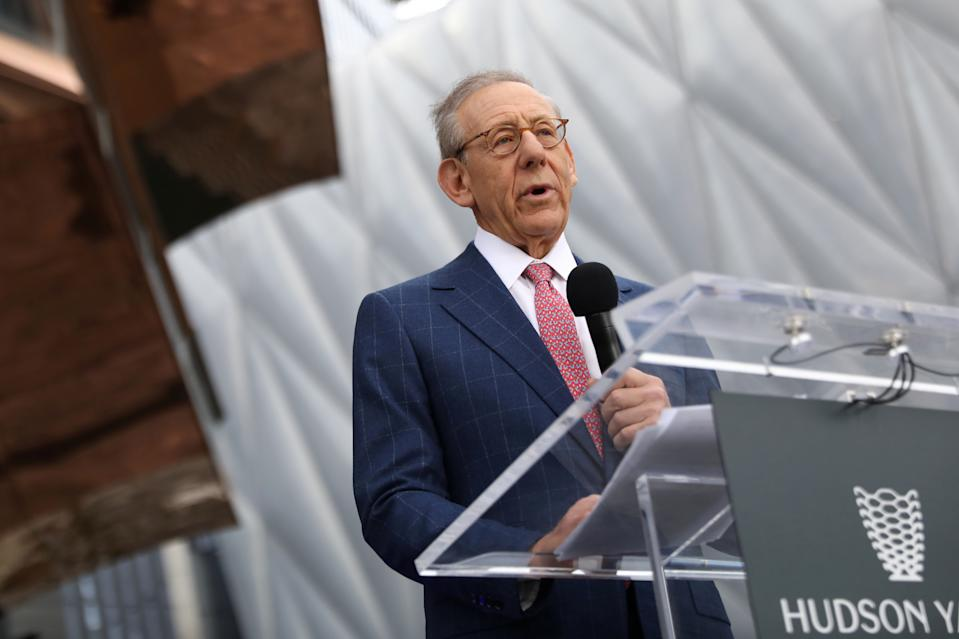 Stephen Ross, chairman of the Related Companies, speaks during the grand opening of the The Hudson Yards development, a residential, commercial, and retail space, and a large public art sculpture called 'The Vessel,' on Manhattan's West side in New York City, New York, U.S., March 15, 2019. REUTERS/Brendan McDermid