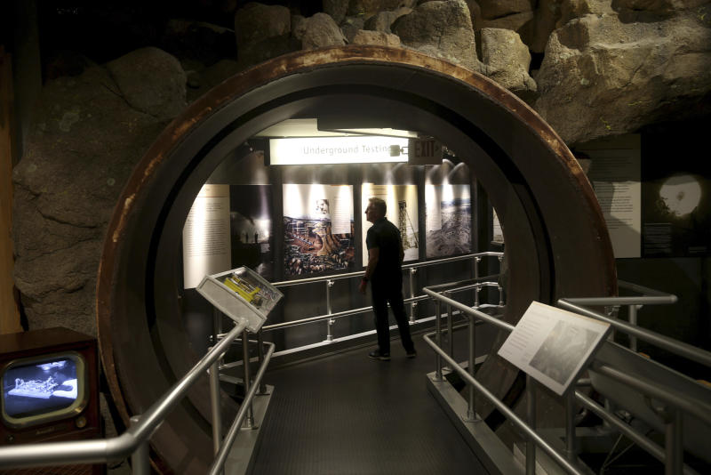 In this Monday, June 10, 2019 photo, Brad Goldberg, of Los Angeles, tours the National Atomic Testing Museum in Las Vegas.  Officials at the museum say they have outgrown their space east of the Las Vegas Strip and is looking for a new location to expand its nuclear testing exhibits. (K.M. Cannon/Las Vegas Review-Journal via AP)/Las Vegas Review-Journal via AP)