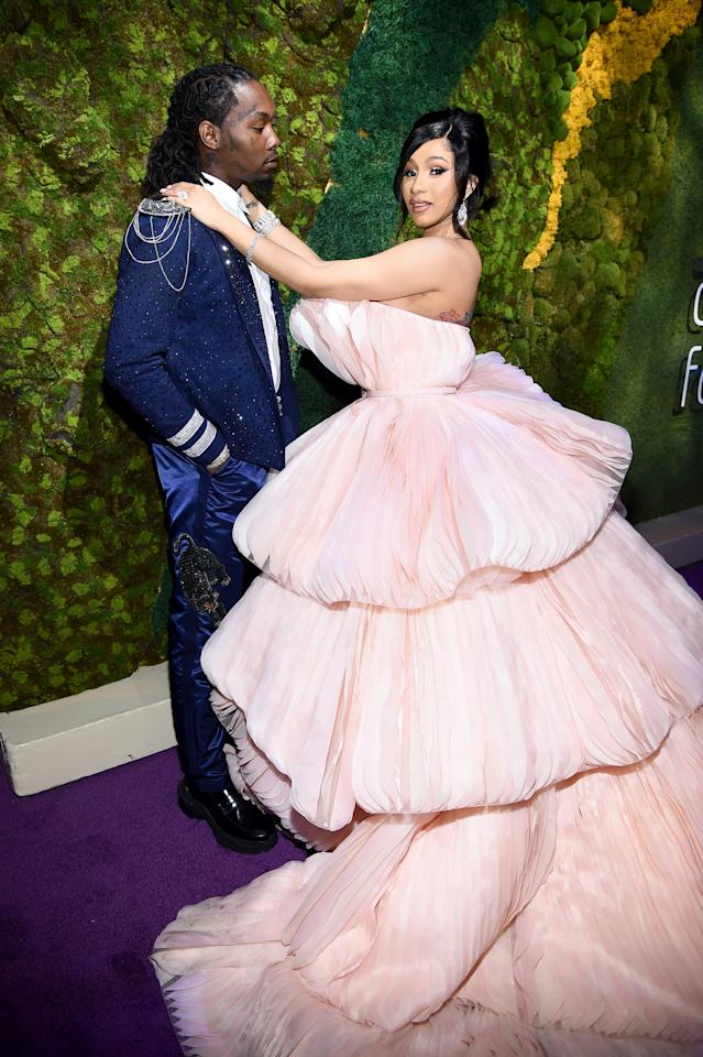 <p>Cardi wore Georges Hobeika Couture, and her dress was almost too big to fit in the frame of photos.</p>