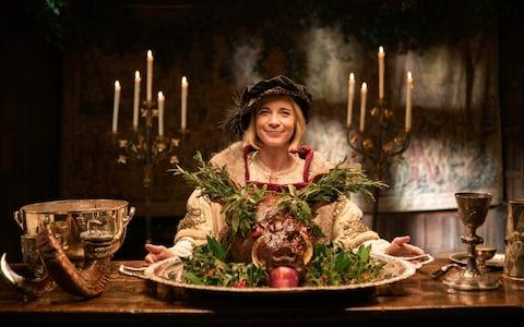 Lucy Worsley, in every sense, is hamming it up - Credit: BBC