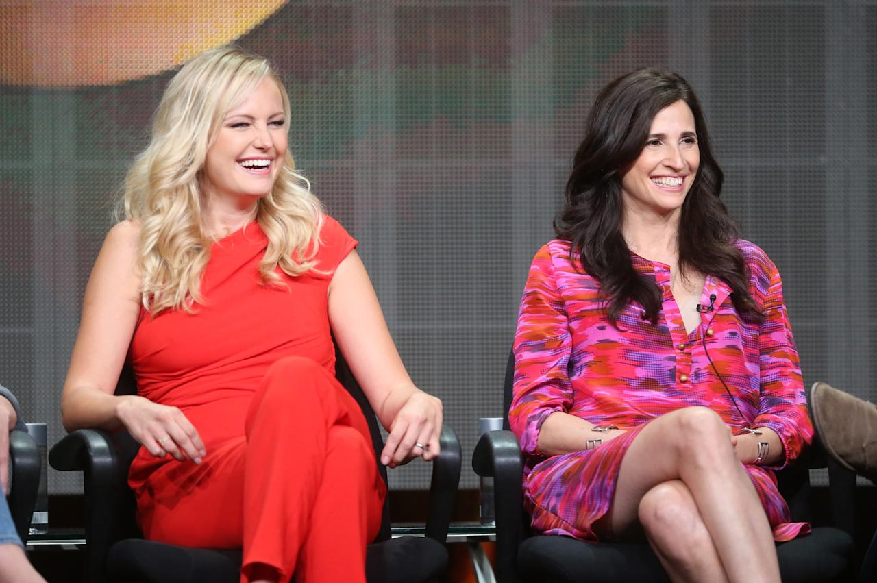 """BEVERLY HILLS, CA - AUGUST 04: (L-R) Actresses Malin Akerman and Michaela Watkins speak onstage during the """"Trophy Wife"""" panel discussion at the Disney/ABC Television Group portion of the Television Critics Association Summer Press Tour at the Beverly Hilton Hotel on August 4, 2013 in Beverly Hills, California. (Photo by Frederick M. Brown/Getty Images)"""