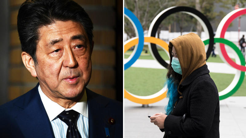 Shinzo Abe, pictured here after the Olympics was postponed until 2021.