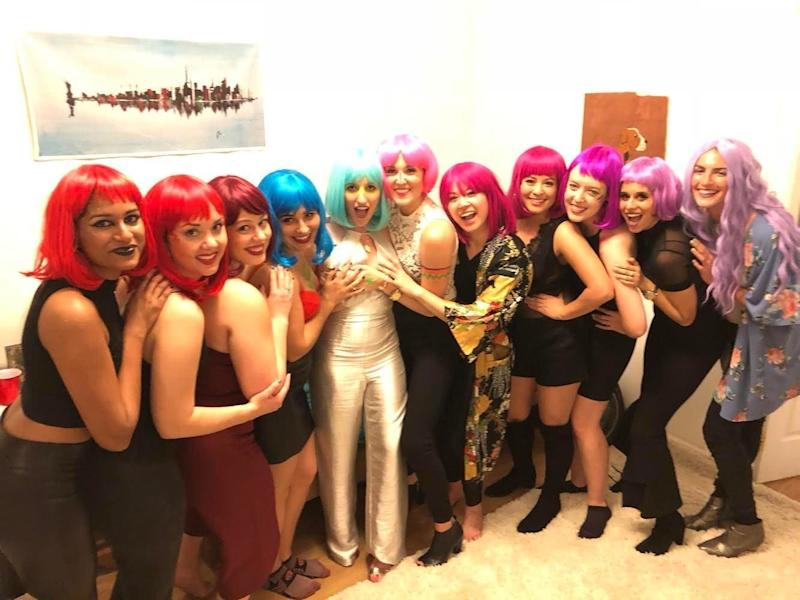 Jessica Reese O'Rourke, center, had her crew wear matching wigs during a bach getaway to NYC. (Courtesy of Reese O'Rourke)