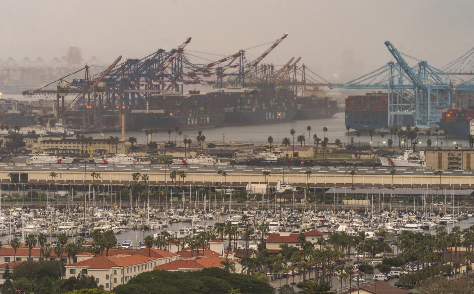 In this Wednesday, March 3, 2021 photo, container cargo ships are seen docked in the Port of Los Angeles. A trade bottleneck born of the COVID-19 outbreak has U.S. businesses waiting for shipments from Asia _ while off the coast of California, dozens of container ships have been anchored, unable to unload their cargo. ( AP Photo/Damian Dovarganes)