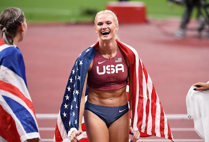 Katie Nageotte celebrates after winning gold in the women's pole vault on Thursday.