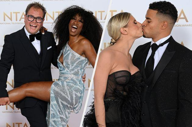 Alan Carr, Beverley Knight, Chloe Burrows and Toby Aromolaran strike a pose on the NTAs red carpet (Photo: David Fisher/Shutterstock)