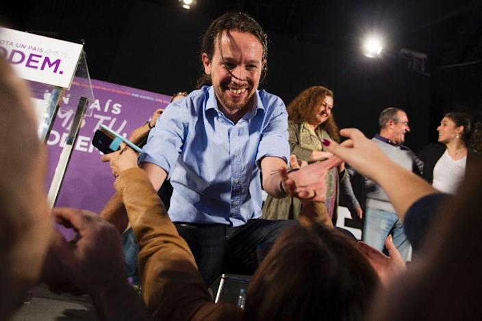 Leader of Spain's left-wing Podemos party Pablo Iglesias said he would be happy for police to investigate him and his party's finances to prove they were clean and transparent (AFP Photo/Jaime Reina)