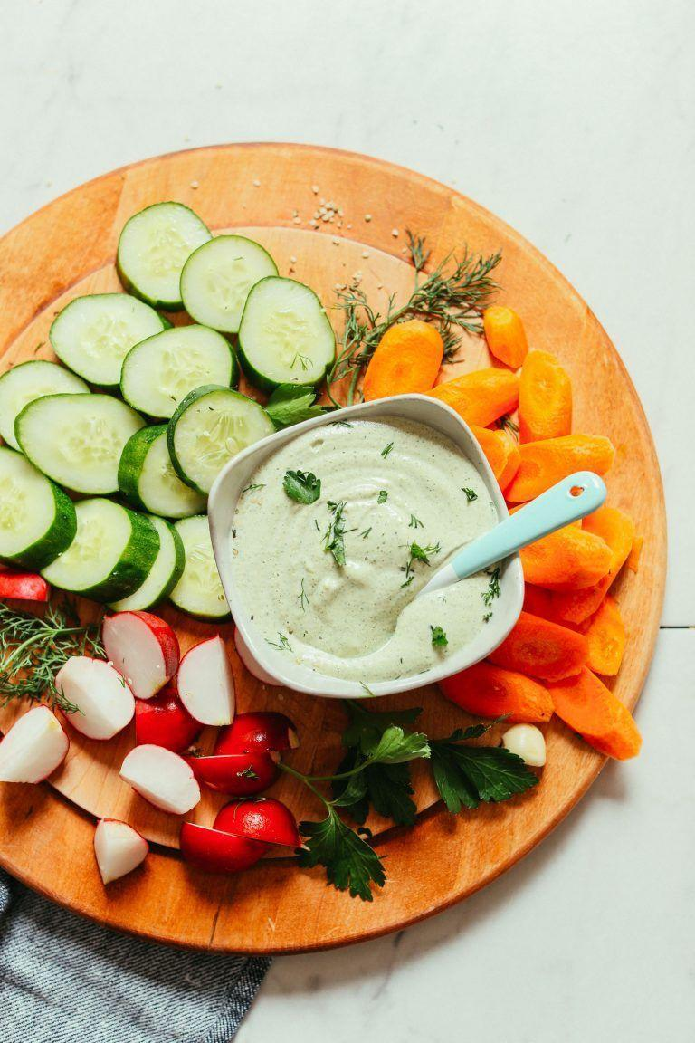 """<p>Ranch is one of few dressings that's worthy of everything from salads to vegan pizza, so you'd better make a big batch of this, stat.</p><p><a class=""""link rapid-noclick-resp"""" href=""""https://minimalistbaker.com/easy-vegan-ranch-dressing-oil-free/"""" rel=""""nofollow noopener"""" target=""""_blank"""" data-ylk=""""slk:GET THE RECIPE"""">GET THE RECIPE</a></p><p><em>Per serving: 69 calories, 5 g fat (1 g saturated), 4 g carbs, 1 g sugar, 118 mg sodium, 1 g fiber, 2 g protein</em></p>"""