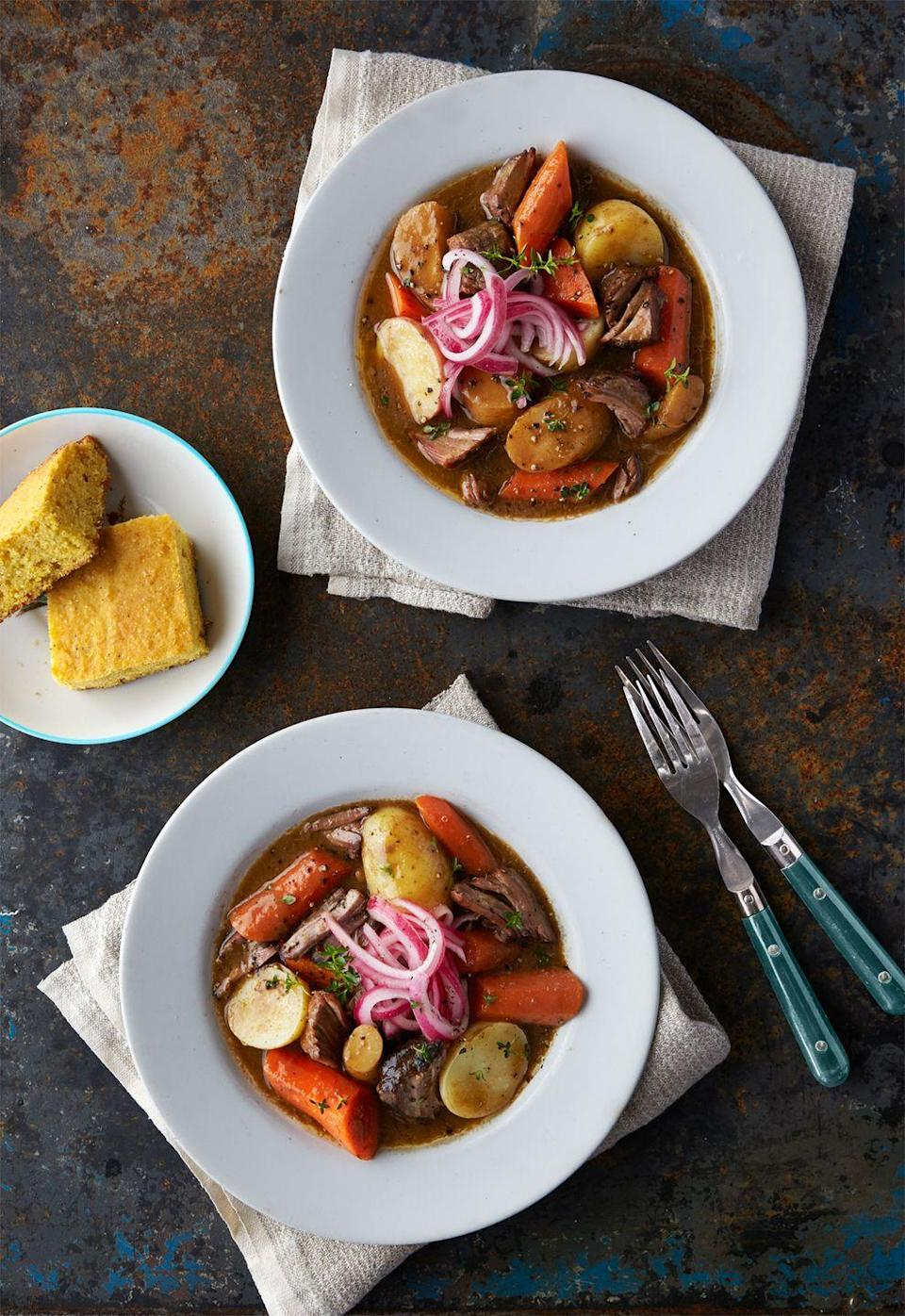 "<p>And you have to serve it with cornbread on the side.</p><p>Get the recipe from <a href=""https://www.delish.com/cooking/recipe-ideas/recipes/a44289/red-eye-brisket-stew-recipe/"" rel=""nofollow noopener"" target=""_blank"" data-ylk=""slk:Delish"" class=""link rapid-noclick-resp"">Delish</a>.</p>"