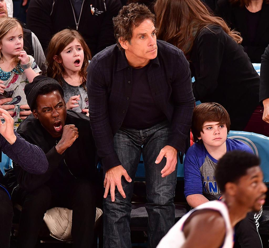 <p>Chris Rock and Ben Stiller, along with Stiller's 11-year-old son, Quinlin, had some dramatic reactions as the New York Knicks battled it out with the Atlanta Hawks at Madison Square Garden Monday. It was a dramatic game; the Knicks lost 107-108. (Photo: James Devaney/GC Images) </p>