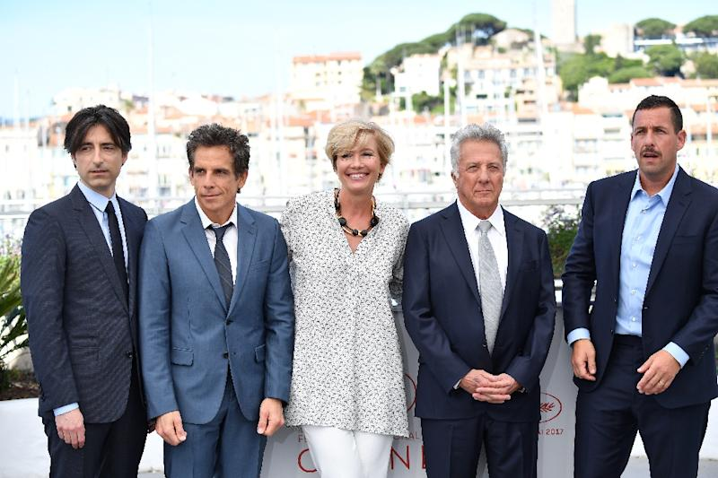 British actress Emma Thompson and US director (left) Noah Baumbach also joined the Cannes photocall for 'The Meyerowitz Stories' (AFP Photo/Alberto PIZZOLI)