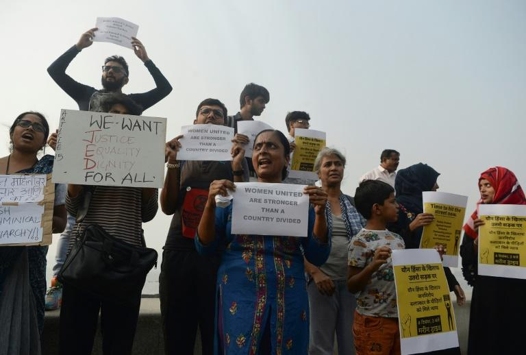 A protest in Mumbai against sexual assault in India. Police have long been criticised for not preventing violent crimes or for failing to bring cases to court (AFP Photo/Punit PARANJPE)