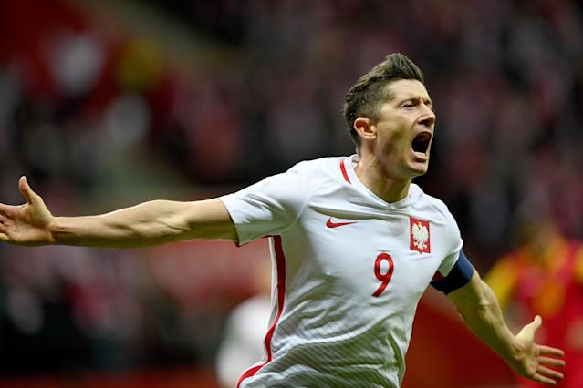 "<a class=""link rapid-noclick-resp"" href=""/soccer/players/robert-lewandowski/"" data-ylk=""slk:Robert Lewandowski"">Robert Lewandowski</a> and Poland will join Brazil, Germany, France and other giants in Pot 1, while Spain is stuck in Pot 2."