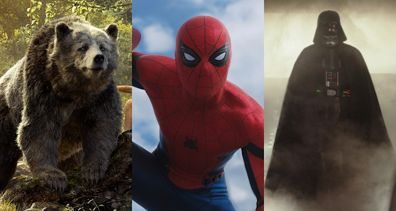 Baloo, Spider-Man and Lord Vader feature on our list. (Credit: Disney, Marvel, LucasFilm)
