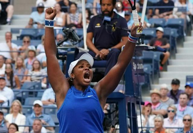 American qualifier Taylor Townsend reacts after her victory over reigning Wimbledon champion Simona Halep on Thursday in the second round of the US Open (AFP Photo/TIMOTHY A. CLARY)