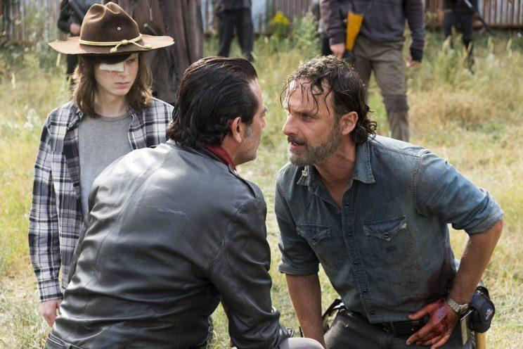 Andrew Lincoln as Rick Grimes, Chandler Riggs as Carl Grimes, Jeffrey Dean Morgan as Negan on AMC's <i>The Walking Dead</i>.<br>(Photo: Gene Page/AMC)