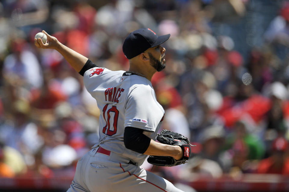 Boston Red Sox starting pitcher David Price throws to the plate during the first inning of a baseball game against the Los Angeles Angels, Sunday, Sept. 1, 2019, in Anaheim, Calif. (AP Photo/Mark J. Terrill)