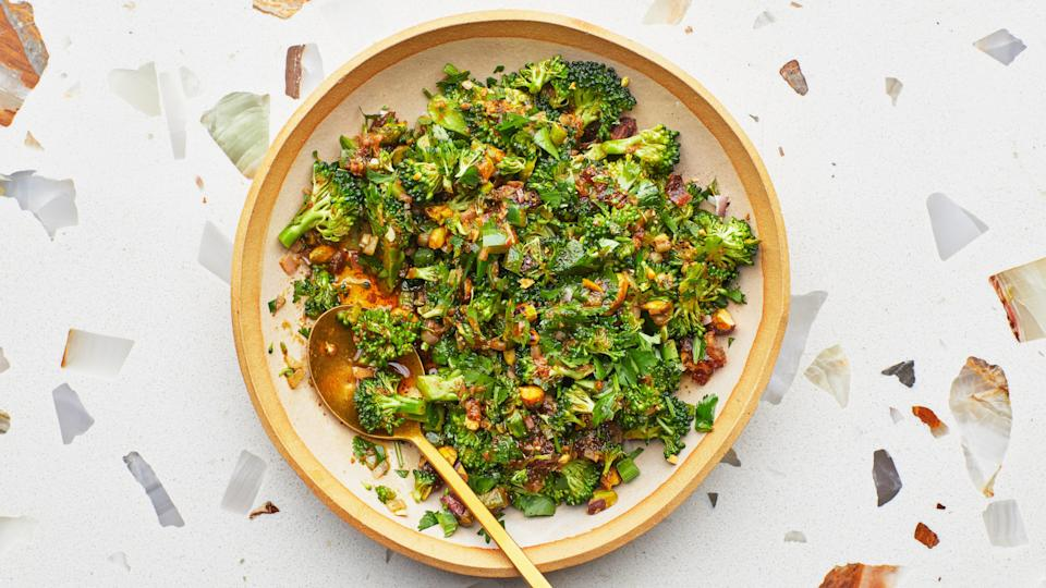 "This salad puts all the best textures on a spoon: crisp, raw broccoli; chewy, sticky dates; and crunchy toasted pistachios. The ras-el-hanout, a Moroccan spice blend featuring aromatic and warm spices, adds a smoky depth to the bright citrusy dressing, which soaks into the broccoli as it sits. Don't have ras-el-hanout? Garam masala, baharat, or curry powder will also work. And if you're a meal prepper, this is a great make-ahead salad—it only gets better with a little time. <a href=""https://www.bonappetit.com/recipe/broccoli-and-date-salad?mbid=synd_yahoo_rss"" rel=""nofollow noopener"" target=""_blank"" data-ylk=""slk:See recipe."" class=""link rapid-noclick-resp"">See recipe.</a>"