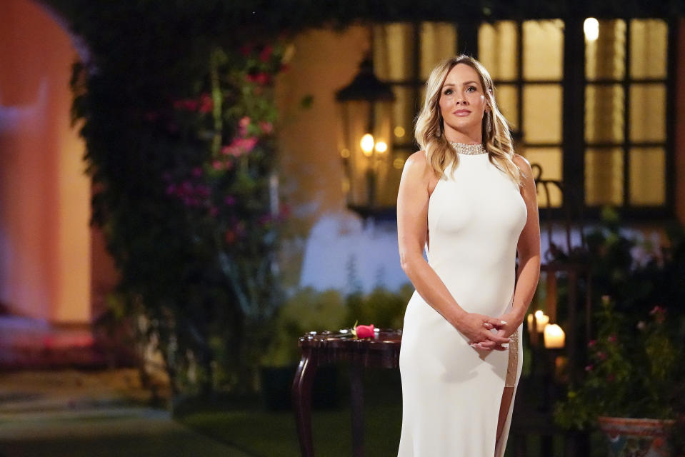 "THE BACHELORETTE - ""1604"" - Clare's romantic situation is close to the tipping point as 16 of her remaining men are hopelessly confused about where they stand with the Bachelorette. Chris Harrison pays Clare a visit and cautions her that her journey cannot continue on its current path, only to have her make a stunning revelation. Chris shares the startling news with the guys that the cocktail party and rose ceremony are canceled. A nervous Clare is about to embark on an unprecedented path to find her happy ending. Will she get her wish or will Dale, the man of her dreams, walk away? Will the other men be left with dashed hopes of a happily ever after with Clare? Find out on ""The Bachelorette"" on a special night, THURSDAY, NOV. 5 (8:00-10:01 p.m. EDT), on ABC. (Craig Sjodin/ABC via Getty Images) CLARE CRAWLEY"