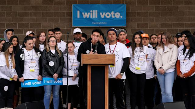 Marjory Stoneman Douglas High School survivor Carlos Rodriguez speaks as teens kick off a voter registration rally. (Photo: Rick Wilking/Reuters)