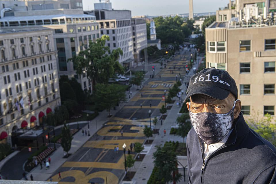 John Lewis looks over a section of 16th Street that's been renamed Black Lives Matter Plaza in Washington on June 7, 2020.  (Khalid Naji-Allah/Executive Office of the Mayor via AP)