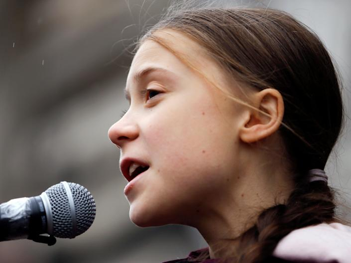 <p>Greta Thunberg blasted US climate policy in a speech to Congress on Thursday</p> (Reuters)