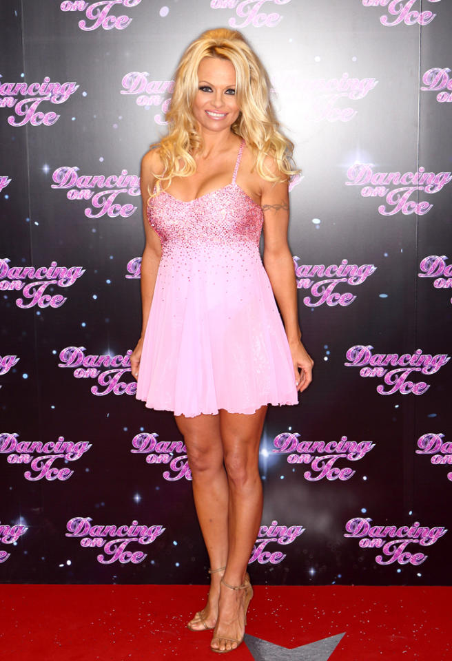 LONDON, ENGLAND - JANUARY 03:  Pamela Anderson attends a photocall for the launch of Dancing on Ice 2013 at The London Television Centre on January 3, 2013 in London, England.  (Photo by Mike Marsland/WireImage)