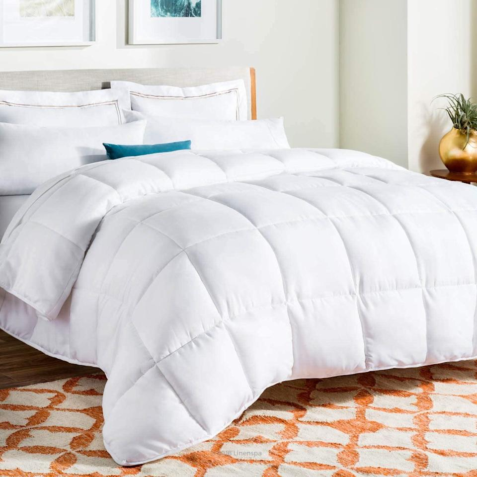 "<h2>Linenspa All-Season Alternative Down Comforter</h2><br>Can you believe Linenspa's comforter is only $30? Most can't. Available in reversible color story's, this alternative down is filled with ultra-cozy microfiber with box stitching that keeps the fill securely in place. Need to know more? The reviews speak for themselves. <br><br><strong>The Hype:</strong> 4.6 out of 5 stars and 68,515 reviews on <a href=""https://www.amazon.com/LINENSPA-All-Season-Alternative-Quilted-Comforter/dp/B00VGR4VW4"" rel=""nofollow noopener"" target=""_blank"" data-ylk=""slk:Amazon"" class=""link rapid-noclick-resp"">Amazon</a> <br><br><strong>Comfort Seekers Say:</strong> ""This comforter is amazing! I was getting too warm with my down comforter but still wanted something soft, and this was the answer. It's very light, yet still provides enough warmth that I'm only using this with a flat sheet."" –– <em>Joiseygirl, Amazon Reviewer</em> <br><br><strong>Linenspa</strong> All-Season Alternative Down Comforter, $, available at <a href=""https://www.amazon.com/LINENSPA-All-Season-Alternative-Quilted-Comforter/dp/B00VGR4VW4"" rel=""nofollow noopener"" target=""_blank"" data-ylk=""slk:Amazon"" class=""link rapid-noclick-resp"">Amazon</a>"
