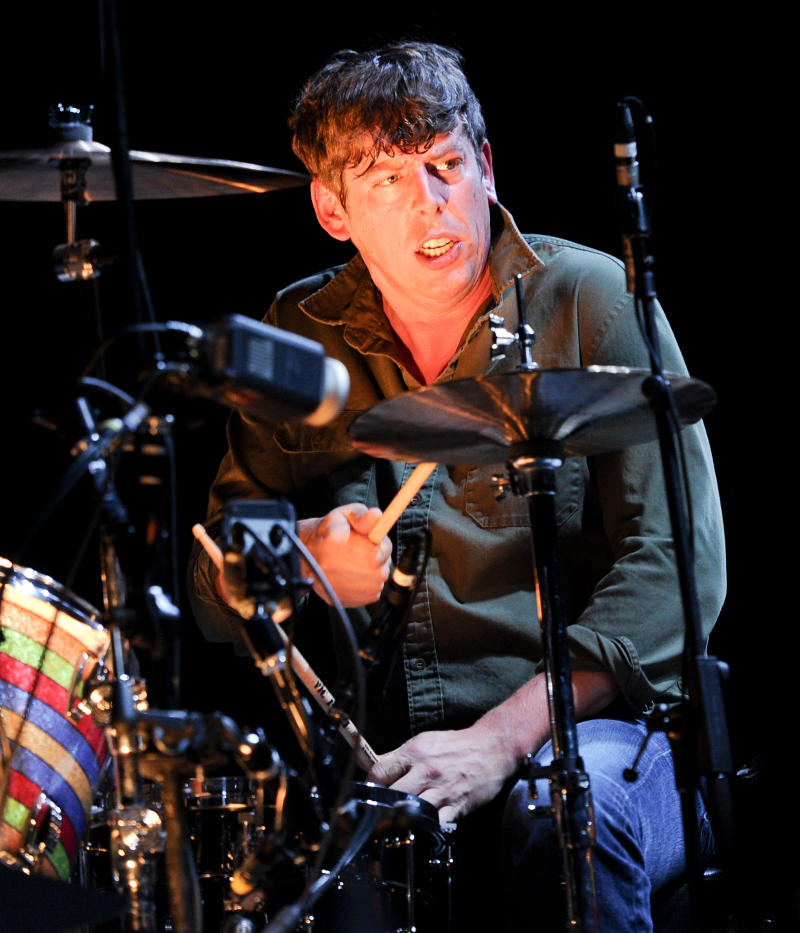 Drummer Patrick Carney of The Black Keys performing at Madison Square Garden on Monday, March 12, 2012 in New York. (AP Photo/Evan Agostini)