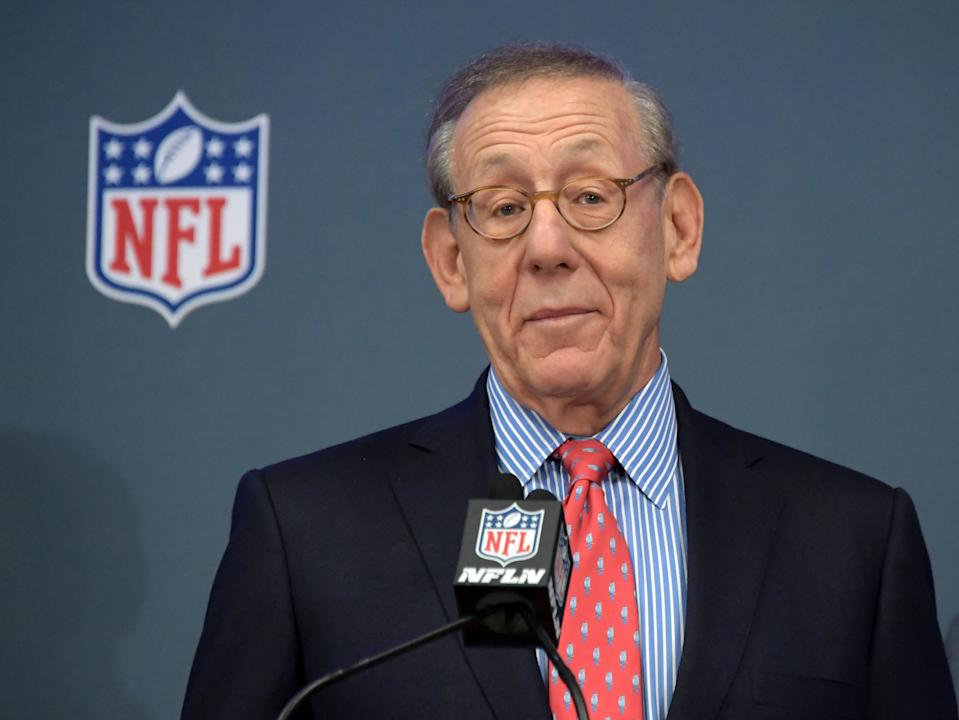 Feb 4, 2019; Atlanta, GA, USA; Miami Dolphins owner Stephen Ross speaks during Super Bowl LIII handoff ceremony at Georgia World Congress Center. Super Bowl 54 will be played at Hard Rock Stadium in Miami Gardens, Fla. on Feb. 2, 2020.  Mandatory Credit: Kirby Lee-USA TODAY Sports