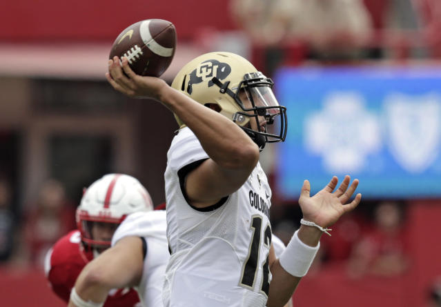 Colorado quarterback Steven Montez (12) throws a pass during the first half of an NCAA college football game against Nebraska in Lincoln, Neb., Saturday, Sept. 8, 2018. (AP Photo/Nati Harnik)