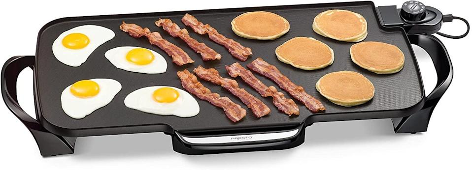 <p>If you have a smaller kitchen, or just need more space to cook more things, the <span>Presto 07061 22-inch Electric Griddle With Removable Handles</span> ($30) is a convenient tool! </p>