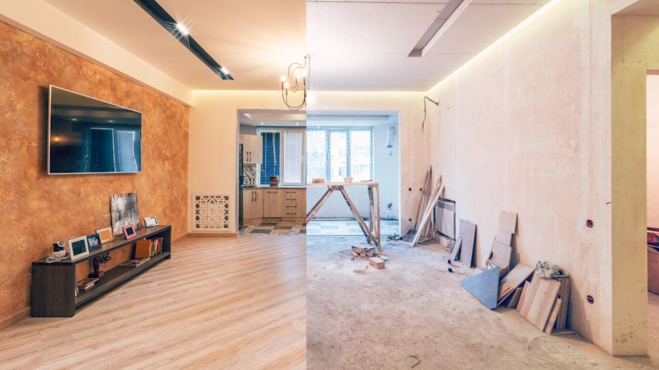 Modern interior design of big living-kitchen studio room, before and after.