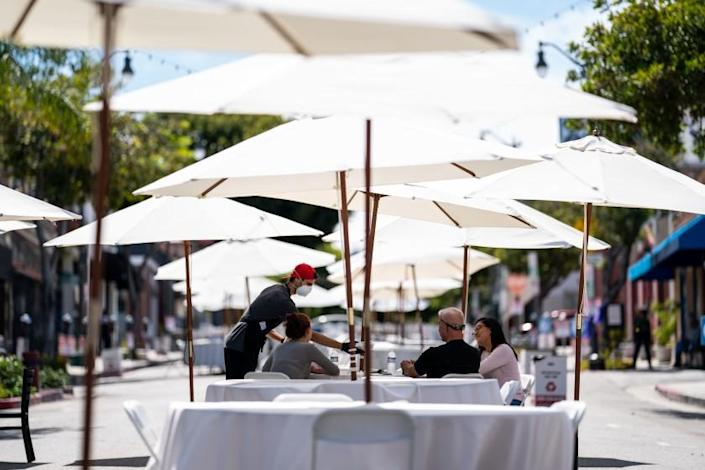 """A section of Sixth Street in San Pedro was closed for seated dining on May 29. <span class=""""copyright"""">(Kent Nishimura / Los Angeles Times)</span>"""