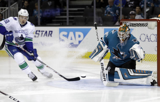 "Goalie Aaron Dell will get plenty of work with the <a class=""link rapid-noclick-resp"" href=""/nhl/teams/san/"" data-ylk=""slk:San Jose Sharks"">San Jose Sharks</a> playing eight games before the All-Star break. (AP Photo/Marcio Jose Sanchez)"