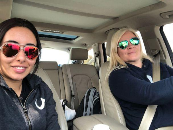 PHOTO: Latifa and Tiina took pictures in the car on their drive through Oman from Dubai on 24th February 2018. (Courtesy Freelatifa.com)