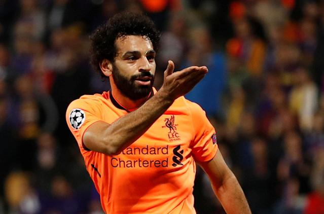 Soccer Football - Champions League - Maribor vs Liverpool - Ljudski vrt, Maribor, Slovenia - October 17, 2017 Liverpool's Mohamed Salah celebrates scoring their third goal Action Images via Reuters/Paul Childs