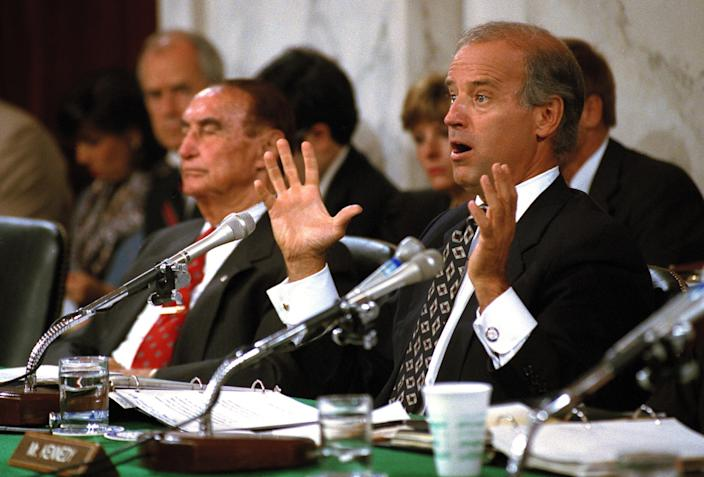 Sen. Joe Biden (D-Del.) speaks during the confirmation hearing of Supreme Court nominee Clarence Thomas in 1991.