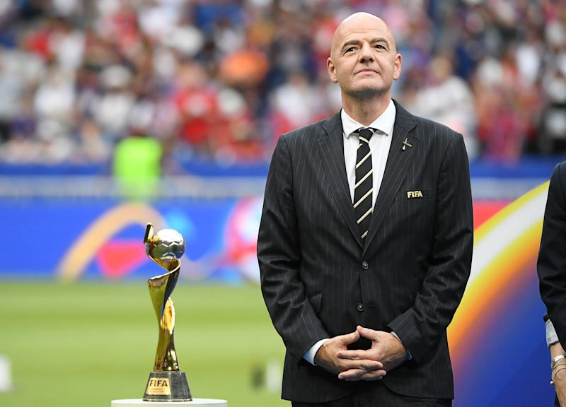 President Gianni Infantino and FIFA have pledged to double the prize money at the 2023 Women's World Cup, but the men's prize money for 2022 is increasing even more. (Photo by Sebastian Gollnow/picture alliance via Getty Images)