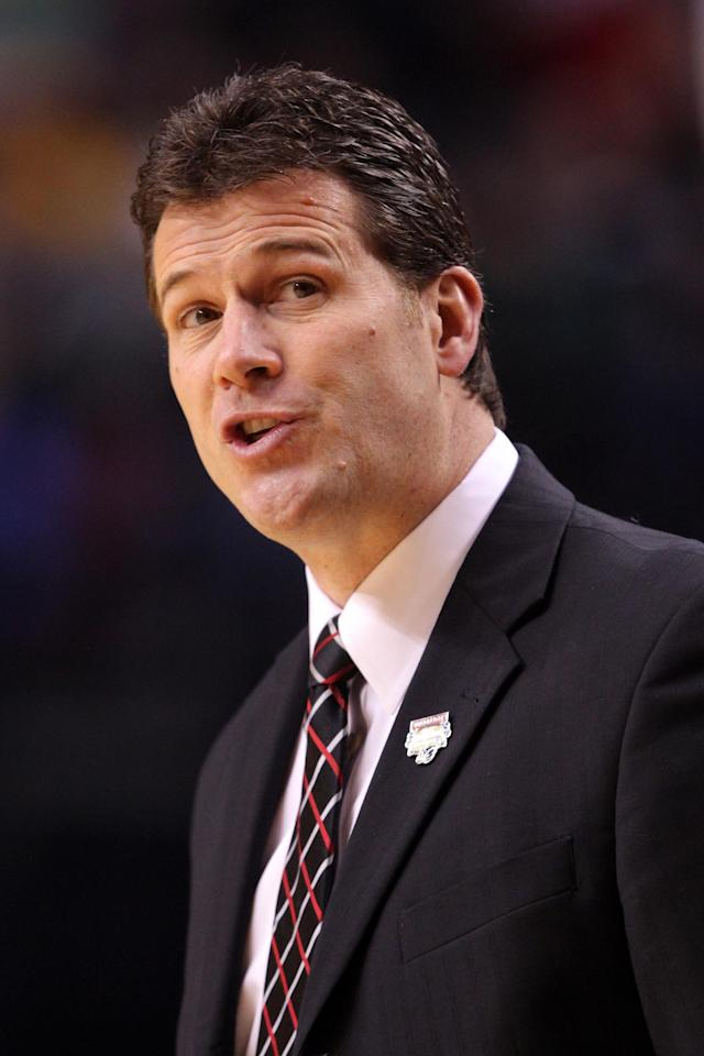 PORTLAND, OR - MARCH 15: Head coach Steve Alford of the New Mexico Lobos reacts in the first half while taking on Long Beach State 49ers in the second round of the 2012 NCAA men's basketball tournament at Rose Garden Arena on March 15, 2012 in Portland, Oregon. (Photo by Jed Jacobsohn/Getty Images)