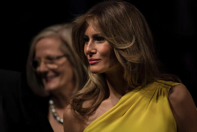 Melania Trump wore a yellow silk dress by Christian Dior to an event on the USS Intrepid in New York on May 4. (Photo: Getty Images)